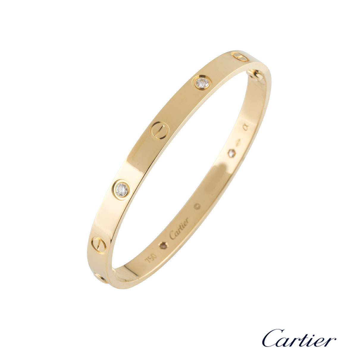 Cartier Yellow Gold Half Diamond Love Bracelet Size 18 B6035918